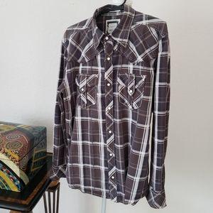 BKE Men's Slim Fit Plaid Western Shirt
